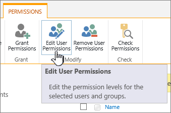Click Edit Permissions to change permission level
