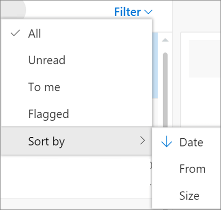A screenshot shows the Sort by option selected from the Filter control for email messages.