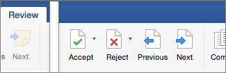 On the Review tab, Accept, Reject, Previous, and Next Change are showing
