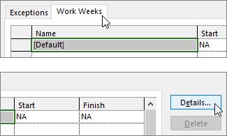 Work Weeks tab