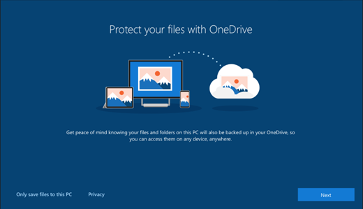 Screenshot of Protect your files with OneDrive in Windows 10 setup