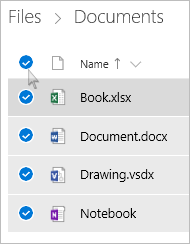 Screenshot of selecting all files and folders in OneDrive