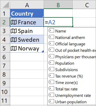 "Cell A2 contains ""France""; Cell B2 contains =A2. and formula autocomplete menu appears with fields from linked record"