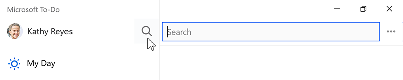 Screenshot showing the search icon selected and the search field open