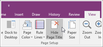 Screenshot of the Hide Page Title button in OneNote 2016.