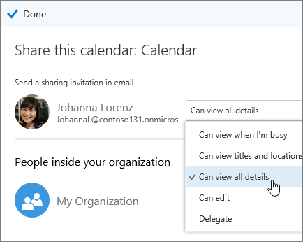 Screenshot of Share calendar pane showing access options