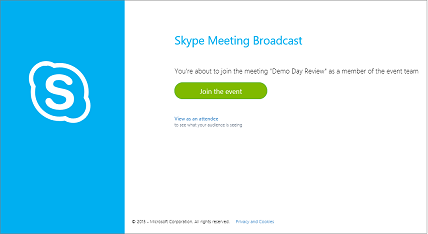Join the event screen for a secure Skype Broadcast Meeting