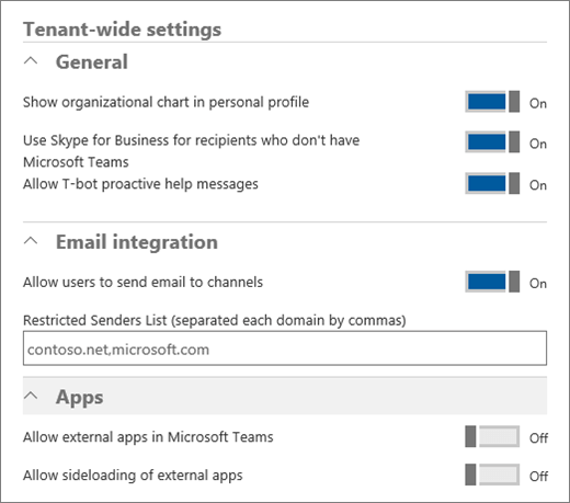 Screenshot shows the Tenant-wide Settings screen with General, Email integration, and Apps areas where admins can turn on or turn off options.