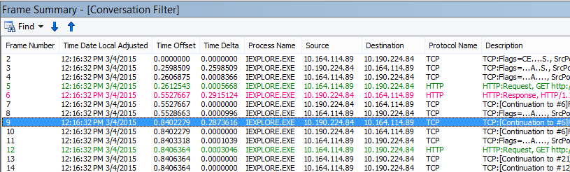 General latency in Netmon, with the Netmon default Time Delta column added to the Frame Summary.