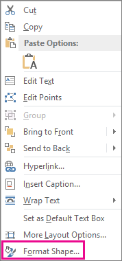 Format Shape on the shortcut menu