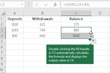 Example of calculating a running balance