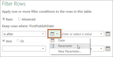 Entering a parameter in the Filter dialog box