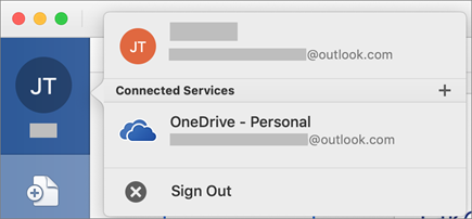 Shows the option to Sign Out in the backstage view on Office for Mac