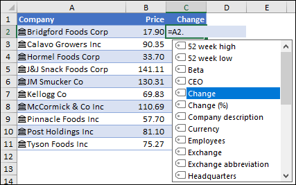 Linked datat type for Stocks