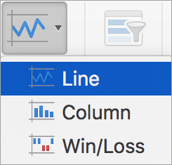 Options on the Sparklines menu