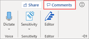 Comments button in ribbon