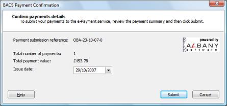 bacs payment confirmation dialog box