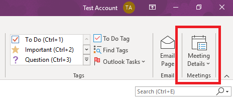 OneNote Meeting Details on the Ribbon