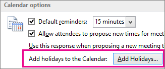 Add holidays to the Calendar