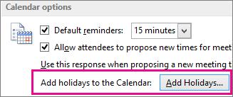 Add holidays to the Calendar