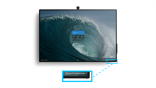 Shows the Surface Hub 2S with a callout enlarging the volume and power button location on the bottom right corner of the Surface Hub 2S.