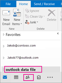 Outlook adds your .pst file with a generic name: outlook data file.