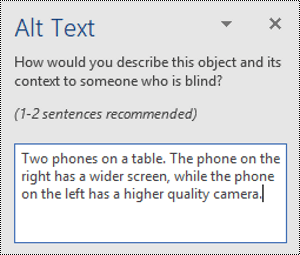 Alt text pane with an alt text example in Word for Windows.