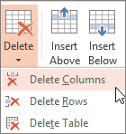 Deleting columns or rows