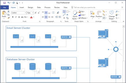 Screenshot of a diagram created in Visio 2016.