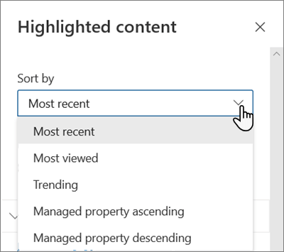 The Sort By options for the Highlighted Content web part in the modern SharePoint experience