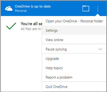 OneDrive Sync Activity center More settings