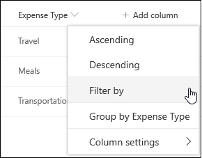 SharePoint Column Heading Filter By Menu Option