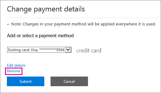 Screenshot of the 'Change payment details' flyout with the Remove link highlighted