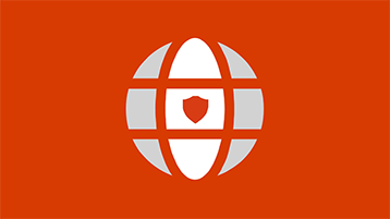 A globe symbol with a shield on an orange background