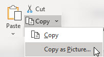 To copy a range of cells, chart, or object, go to Home > Copy > Copy as picture.