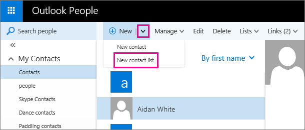 "Screen shot of part of the toolbar on the Outlook People page. The screen shot shows the ""New contact list"" option in the ""New"" drop-down menu."