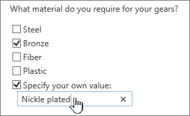 Survey question with specify your own value