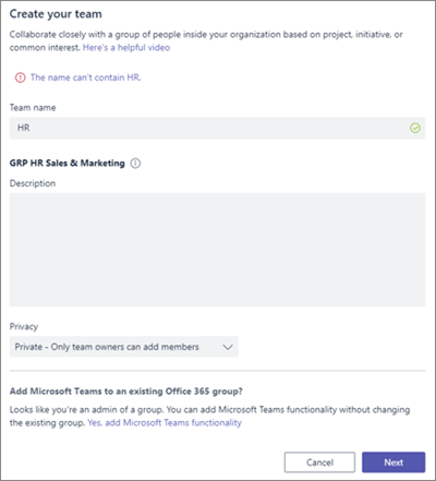 Screenshot: Group naming policy in Microsoft Teams blocked example
