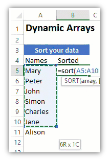 screen shot of an Excel worksheet showing a list of data and a formula using the SORT function to sort the list.