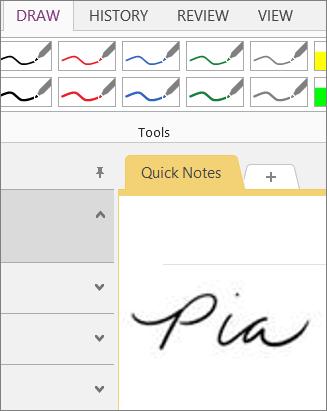 Signature in OneNote