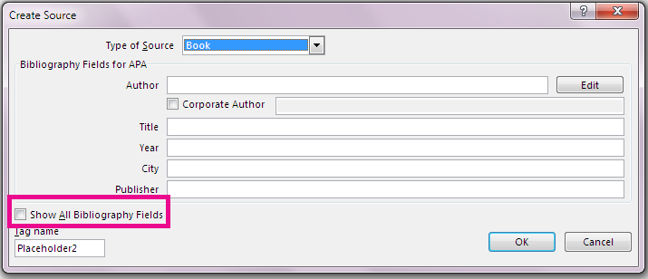 The Create Source dialog box