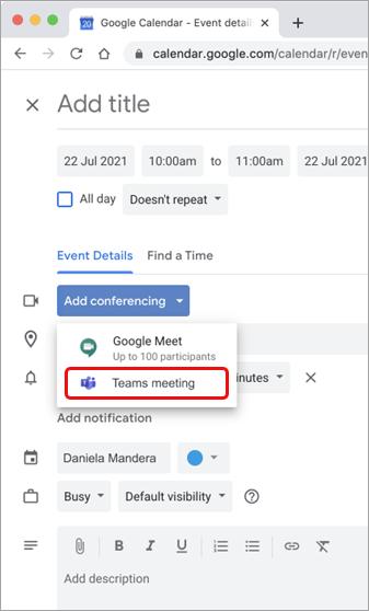 Select Teams meeting