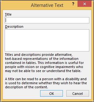 Alternative Text dialog box in Excel