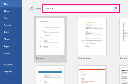 The search word, Resume, is highlighted on the New document screen.
