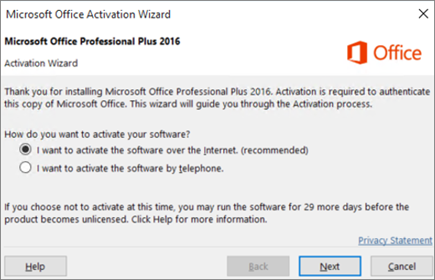 Shows the Office Activation wizard that might appear after you install Office.