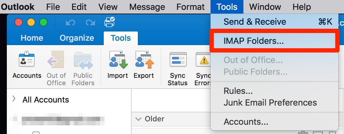 Show or hide IMAP folders - Outlook for Mac