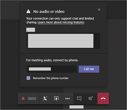 "An error message that says ""No audio or video"" and has space for you to enter a phone number so Teams can call you."