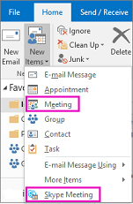 New meeting and new skype meeting options in Outlook 2016