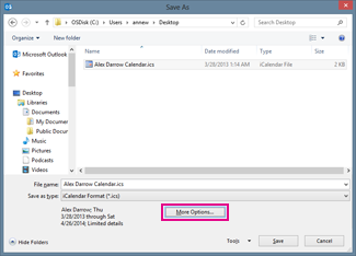 outlook calendar save as dialog box