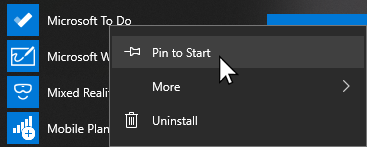Context menu for Microsoft To Do open and Pin to start selected